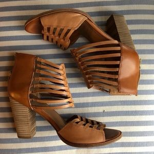 Brown leather caged heels